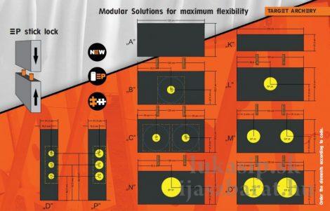 Terčovnica 125 x 125 x 20 cm Eleven ECO Wave moduly K+A+K